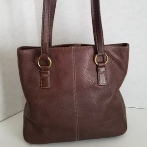 Fossil Pebble Leather Shoulder / Tote Bag